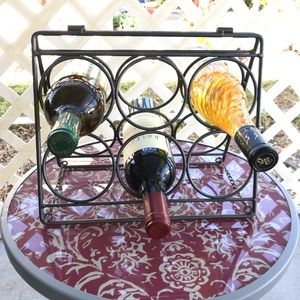 Metal Wine Rack holds 6 six bottles